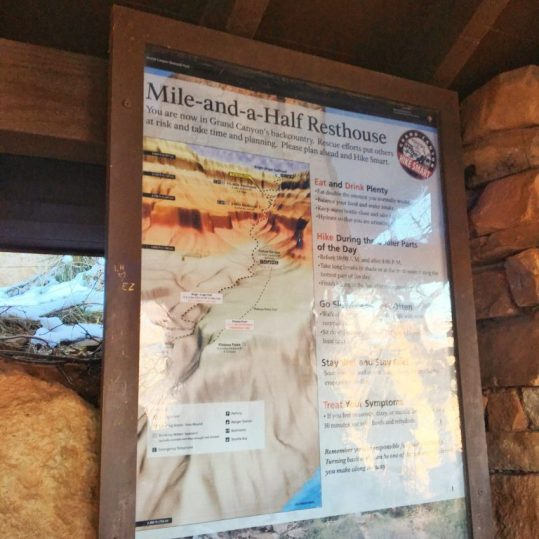 Map along the hiking trail in the Grand Canyon