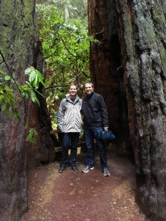 Eric and Kevin inside a redwood tree in California