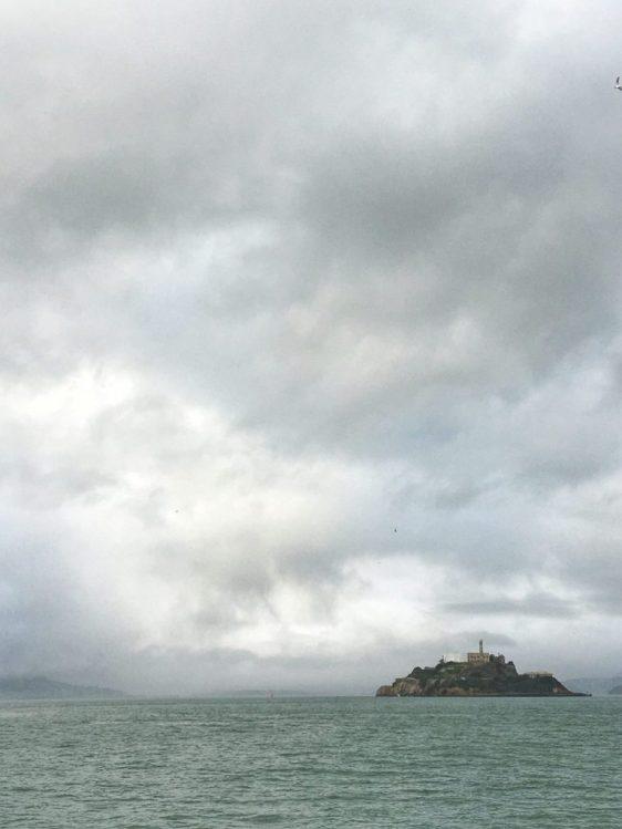 View of Alcatraz from the boat on the way to Alcatraz