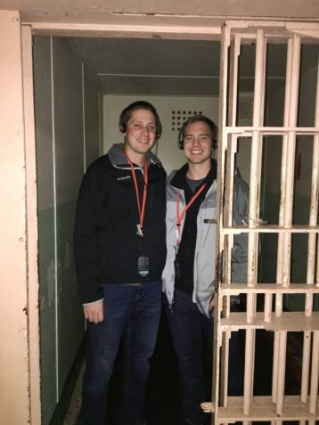 Eric and Kevin inside a cell in Alcatraz