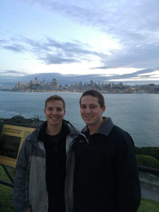 Eric and Kevin outside at Alcatraz prison