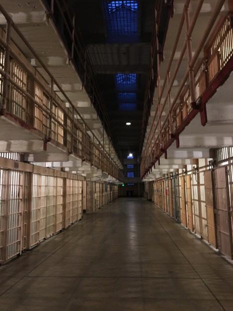 Inside Alcatraz prison at night