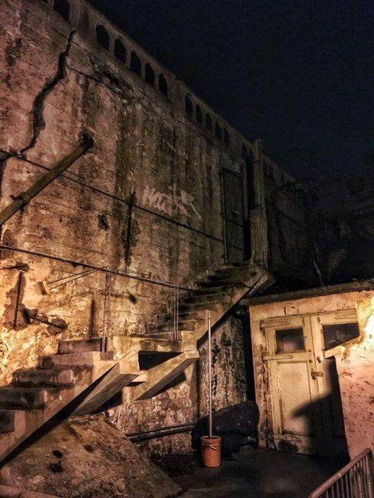Near the morgue at Alcatraz prison