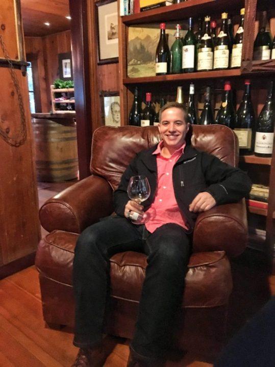 Kevin enjoying his glass of wine at Failla in Napa California
