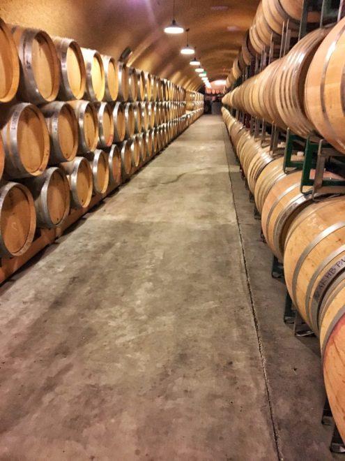 Wine barrels at Failla winery in Napa California