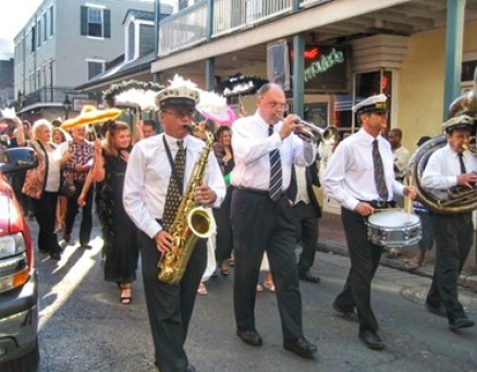 Musicians playing in a second line in New Orleans Louisiana