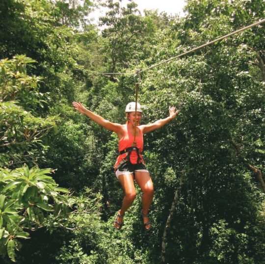 Lauryn zip lining near Tulum, Mexico