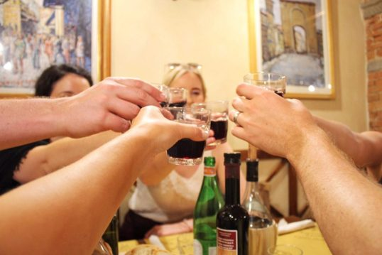 Drinking wine with our friends from our Tuscany wine tour