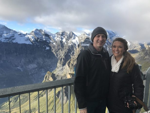 Standing on the edge of the Schilthorn in Switzerland