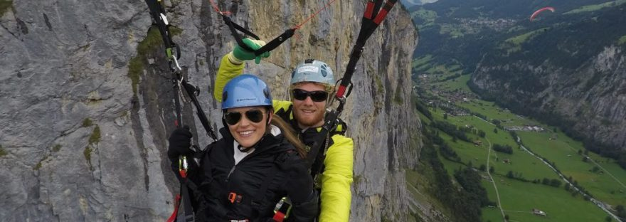 Paragliding from Murren to Lauterbrunnen Switzerland