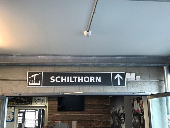The sign pointing to the Schilthorn in Birg Switzerland