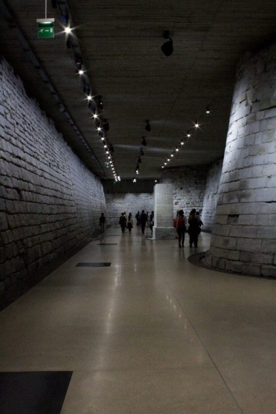 The moat inside the Louvre museum in Paris France