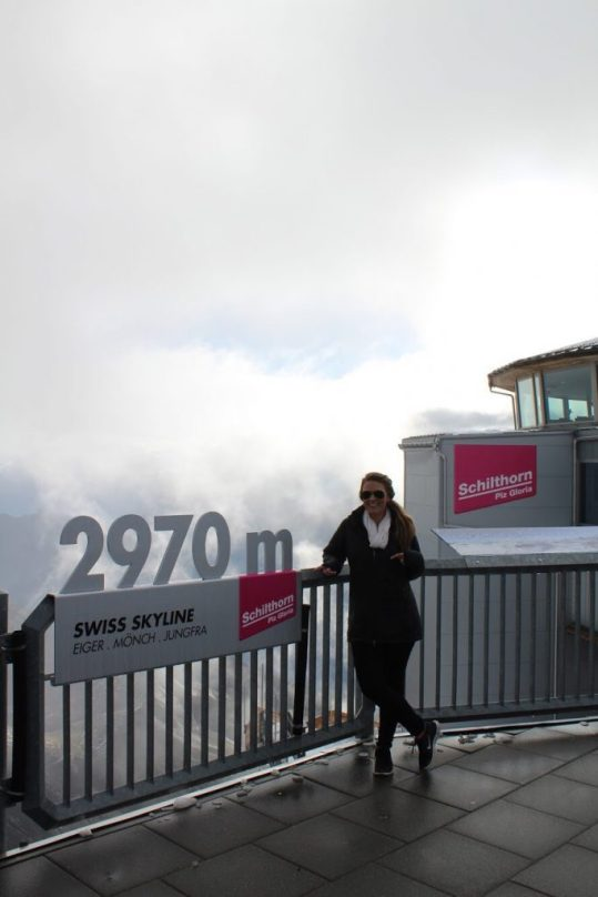 At the top of the Schilthorn in Switzerland