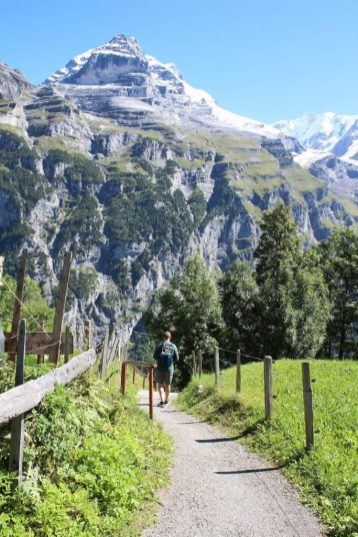 Path along the hike from Murren to Gimmelwald Switzerland