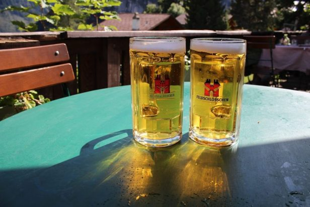 Beer at the biergarten in Gimmelwald Switzerland