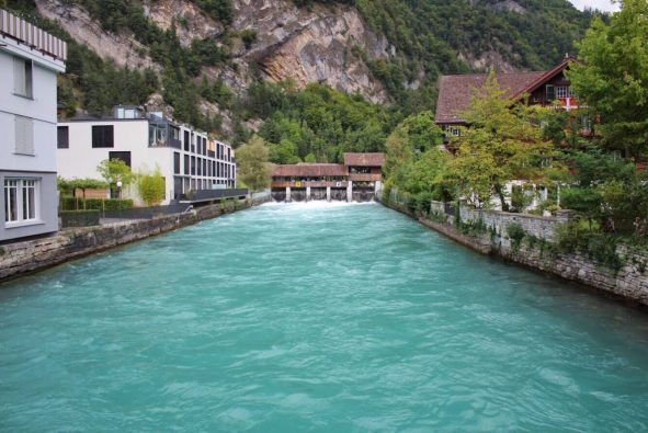 Arctic blue river in Interlaken Switzerland
