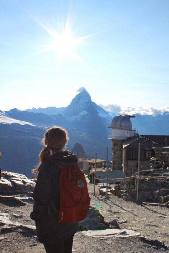 Lauryn in front of the Matterhorn at the Gornergrat in Zermatt, Switzerland