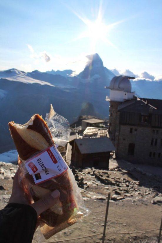 view of the Matterhorn from the Gornergrat train station and my sandwich in Zermatt Switzerland