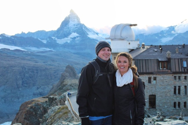 Eric and Lauryn in front of the Matterhorn at the Gornergrat in Zermatt Switzerland