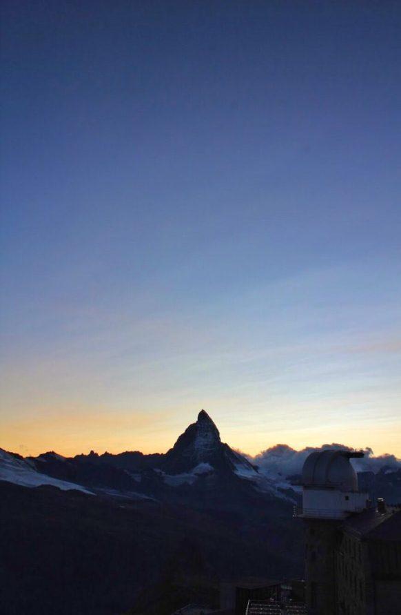 Matterhorn at sunset at the Gornergrat in Zermatt, Switzerland