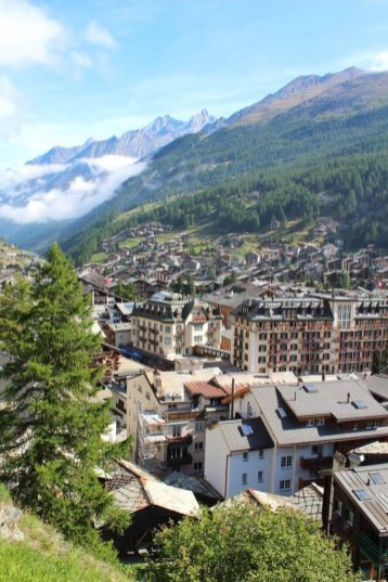 View of Zermatt, Switzerland from a hiking trail