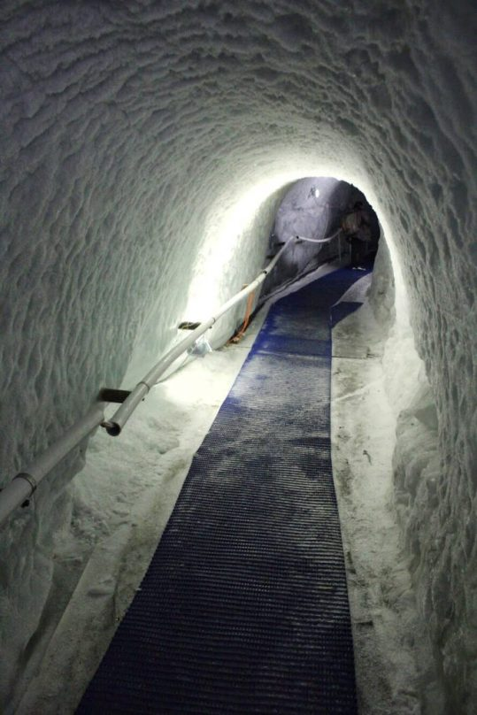 The ice tunnel inside the glacier at the Matterhorn Glacier Paradise in Zermatt, Switzerland
