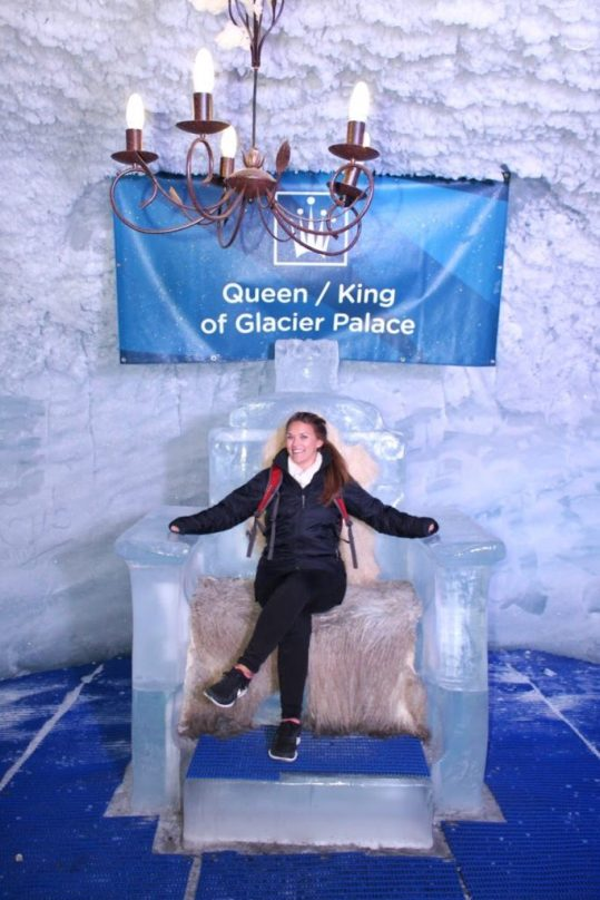 Sitting on a throne of ice at the Matterhorn Glacier Paradise in Zermatt, Switzerland