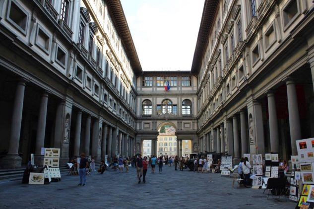 Area right outside of the Uffizi Museum in Florence Italy
