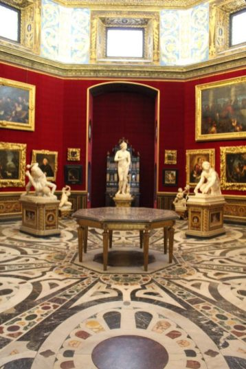 Sculptures in the Uffizi Museum in Florence Italy