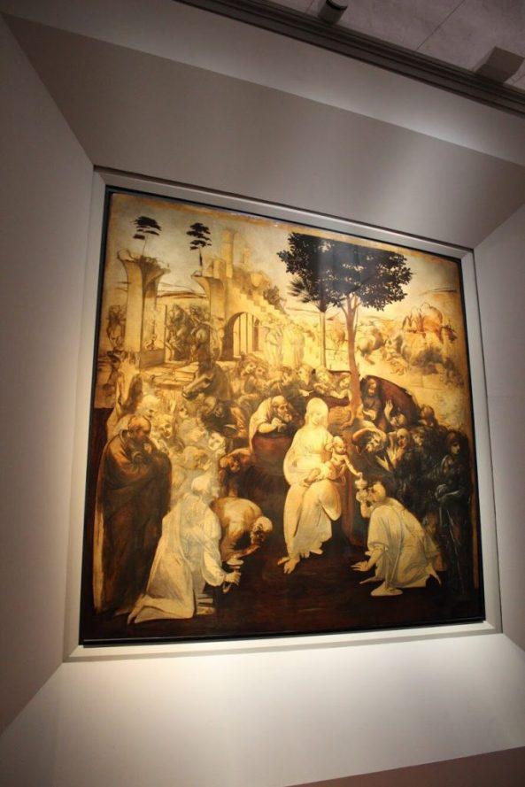 Adoration of the Magi, Leonardo da Vinci (unfinished) in the Uffizi museum Florence Italy
