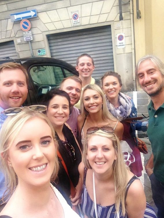 Our Tuscany wine tour group in Italy