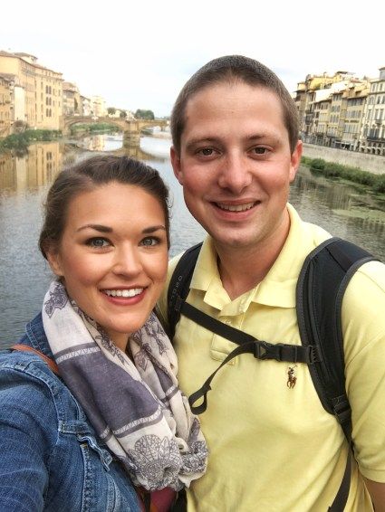 Standing on the Ponte Vecchio in Florence Italy