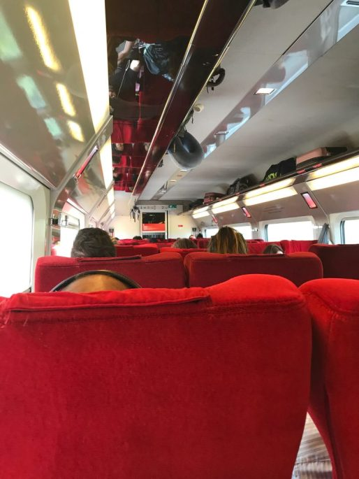 Inside the train from Brussels to Paris