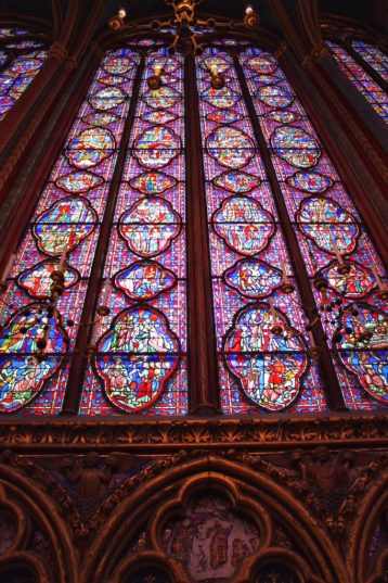 Stained glass at Sainte-Chapelle in Paris France