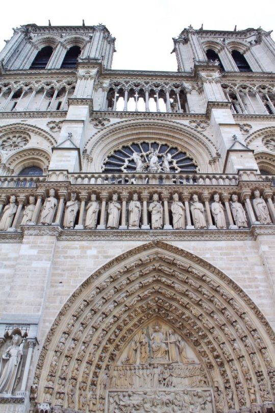 Outside of the Notre Dame in Paris France