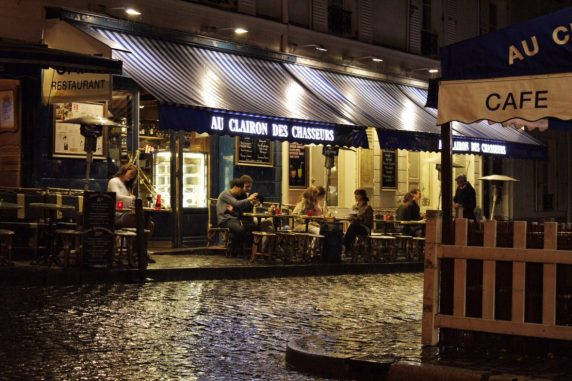 Montmartre at night in Paris France