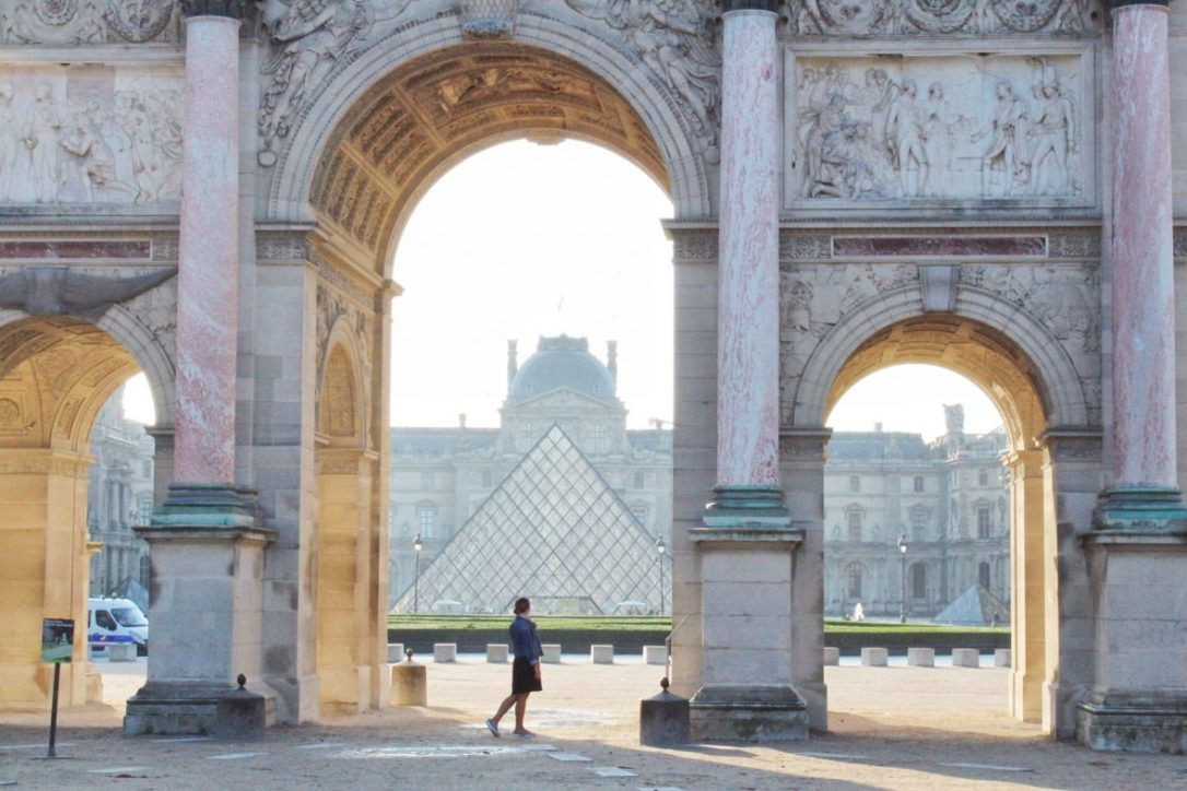 Outside of the Louvre Museum in Paris