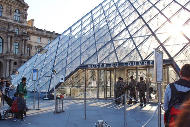 Standing in line at the Louvre Museum pyramid entrance