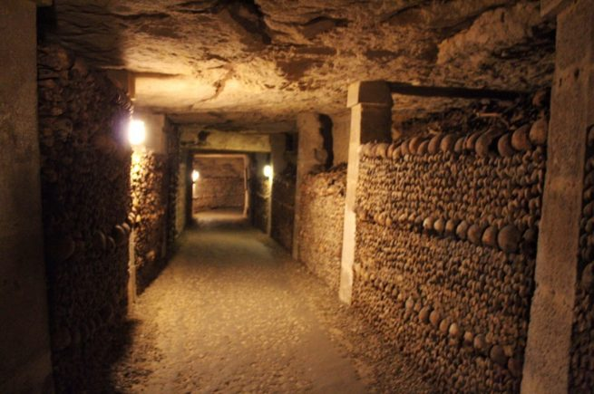 Tunnels inside the Catacombs in Paris France