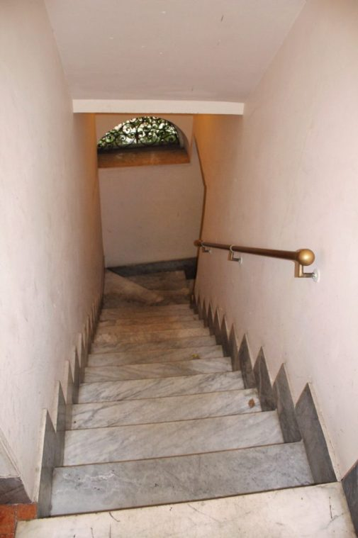 The stairs going up to our Airbnb in Rome Italy