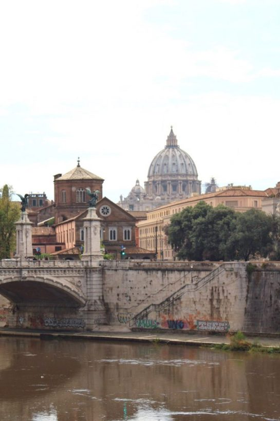 View of St. Peter's Basilica in Rome Italy