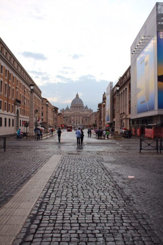 St. Peter's Basilica in the distance in Rome Italy