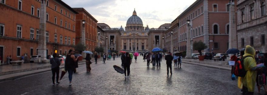 St. Peter's Basilica from a distance in Rome Italy