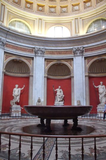 Room with sculptures at the Vatican Museum in Rome Italy