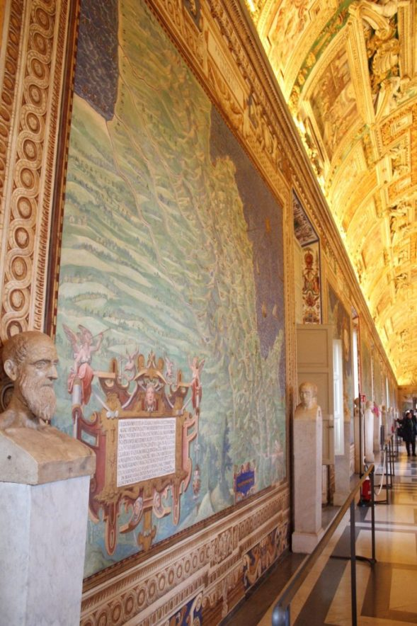 Hall of maps inside the Vatican museum in Rome Italy