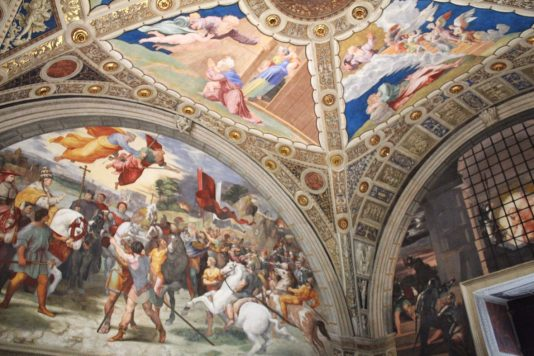 Paintings inside the papal apartments inside the Vatican museum in Rome Italy