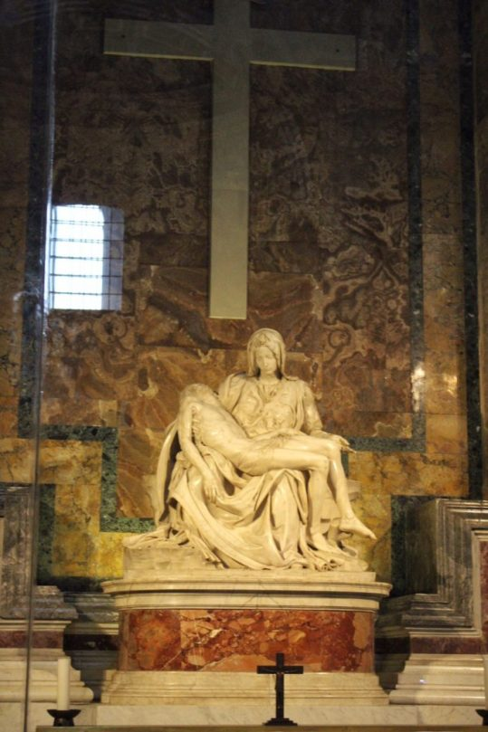 The Pietà by Michelangelo inside St. Peter's Basilica in Rome Italy