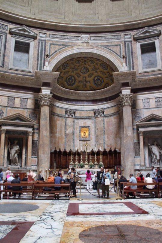 Inside the Pantheon in Rome Italy