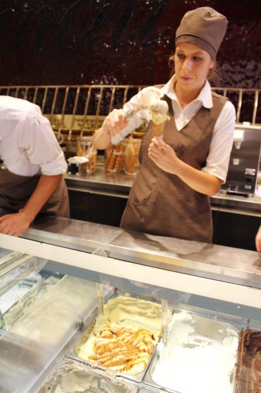Getting gelato from Venchi in Rome Italy