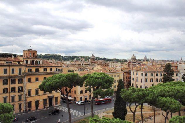 View from the top of the Altare della Patria in Rome Italy